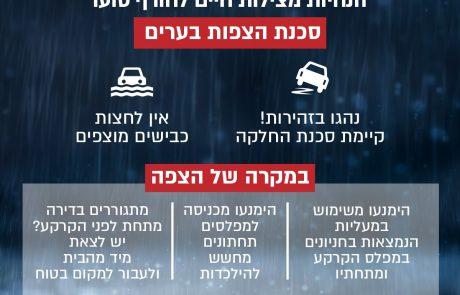 הנחיות לציבור לקראת אירועי מזג אוויר עם חשש להצפות ושיטפונות